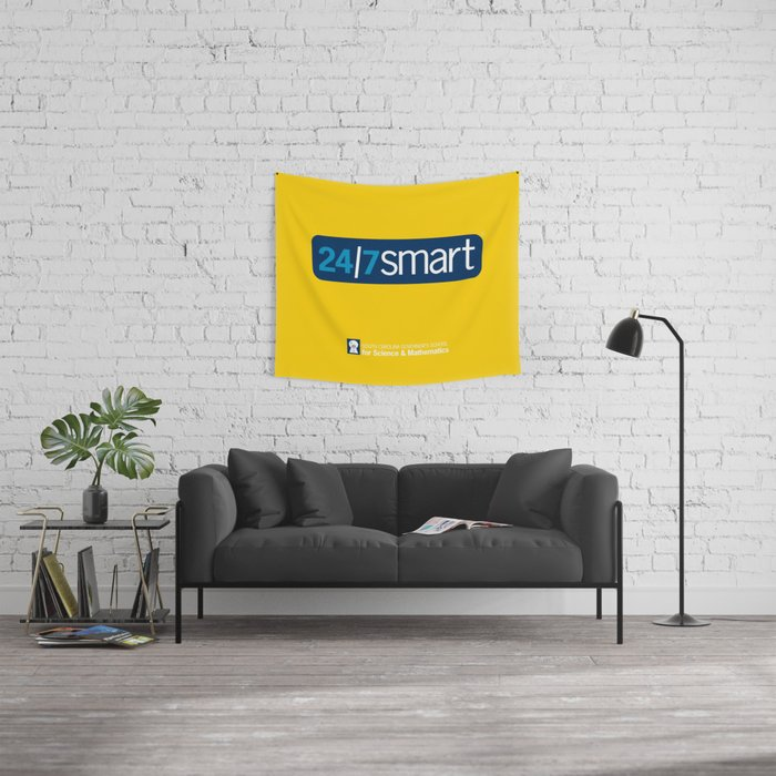 24/7 SMART in yellow Wall Tapestry