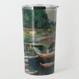 Camille Pissarro - Barges at Pontoise (1876) Travel Mug