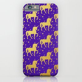 Purple and Gold Unicorn and Stars Pattern iPhone Case