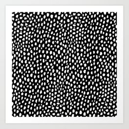 Handmade polka dot brush strokes (black and white reverse dalmatian) Art Print
