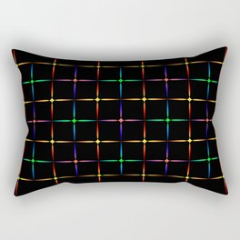 Neon diamonds. Pattern or background of multicolored neon stars on a black background Rectangular Pillow