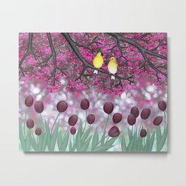 goldfinches, tulips, & flowering crabapple Metal Print