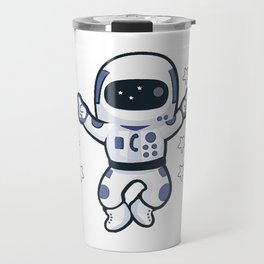 Astronaut Flying Across the Stars in Space While Dancing Travel Mug
