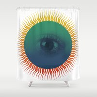 third eye Shower Curtains featuring Third Eye by ochre7