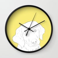 golden retriever Wall Clocks featuring Golden Retriever by FeliciaR