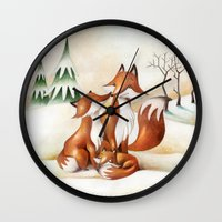foxes Wall Clocks featuring Foxes by Arianna Usai