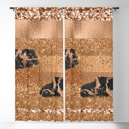 Girly Copper Milk Coffee Glamour Glitter Metal Stripes  Blackout Curtain