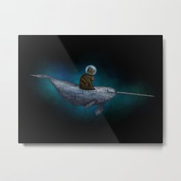 Cat Riding a Narwhal Metal Print