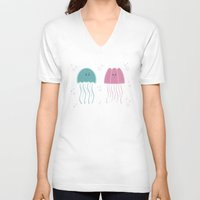 jellyfish V-neck T-shirts featuring Jellyfish by Teo Zirinis