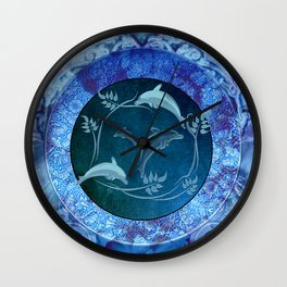 Funny dolphin with flowers Wall Clock