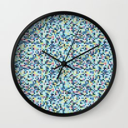 Blue White Yellow Tiling Colored Squares Wall Clock