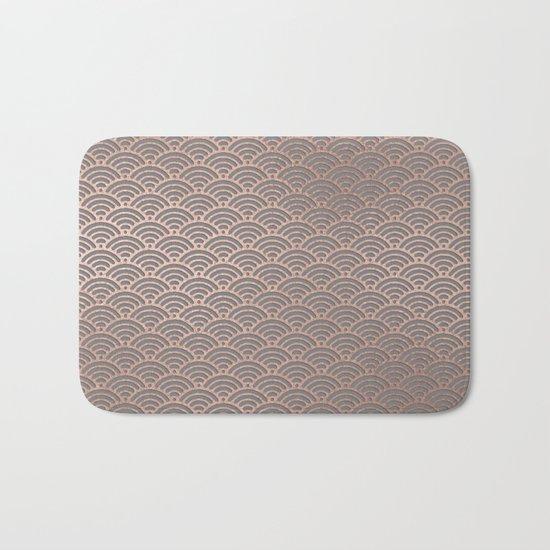 Rosegold mermaid pattern-on grey background Bath Mat