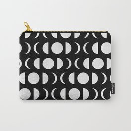 Phases of the Moon - White on Black Carry-All Pouch