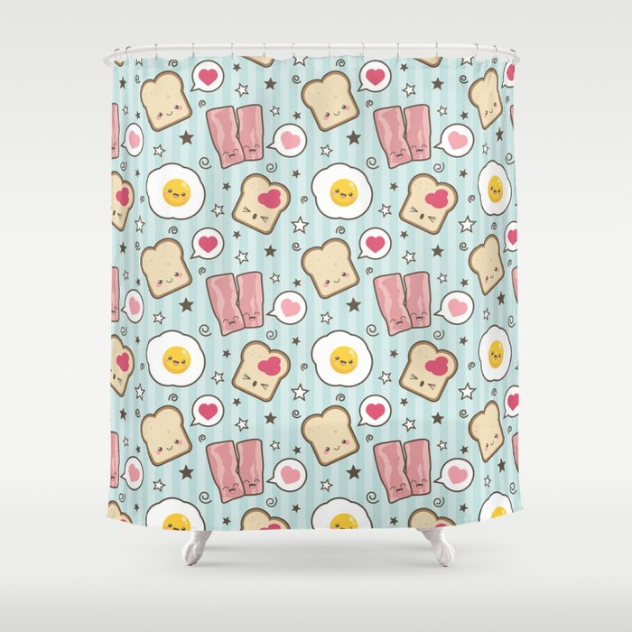 Bacon U0026 Fried Egg Sandwich Kawaii Style Shower Curtain