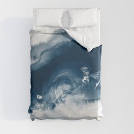 Building the Universe:  A minimal abstract acrylic painting in blue and white by Alyssa Hamilton Duvet Cover