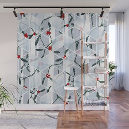 Geometric Mistletoe Holiday Design Wall Mural