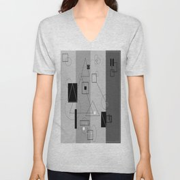 Gray Geometry 3 Unisex V-Neck
