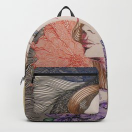 woman cat and moon Backpack