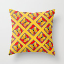 GOLDEN BUTTERFLIES RED- GREY LATTICE  DESIGN Throw Pillow