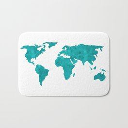 Turquoise Metallic Foil World Map Bath Mat