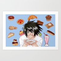 death note Art Prints featuring L from Death Note by Naineuh