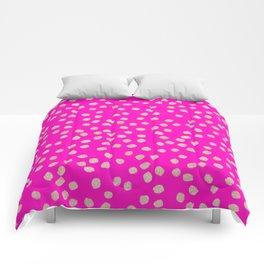 Modern rose gold glitter polka dots neon pink attern Comforters