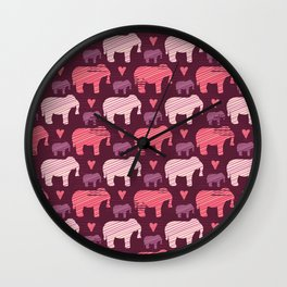 Purple and Pink Kids Baby Elephants Silhouette Wall Clock