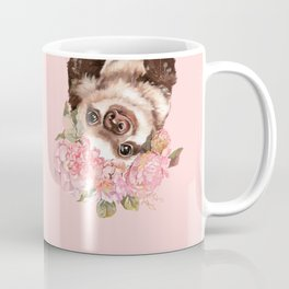 Baby Sloth with Flowers Crown Coffee Mug