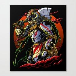 Samurai Viking | Warrior Ronin Berserk Armor Axe Canvas Print