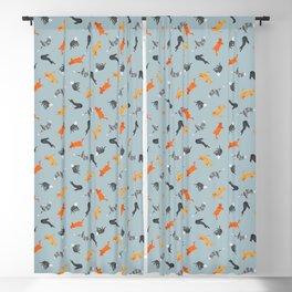 Cat Pattern | Grey-Blue Background | Cats Illustration Blackout Curtain