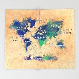 Maps Throw Blankets Society - World map blanket