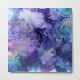 Abstract Watercolor, Ink Prints, Indigo, Blue, Purple Metal Print