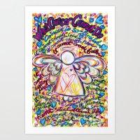 Spring Hearts Cancer Angel Art Print