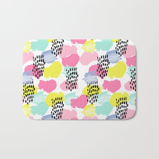 Bright happy painted pattern nursery baby gifts black and white spring summer home decor Bath Mat