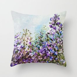 Floral Garden Impressionism in Pretty Purple Throw Pillow