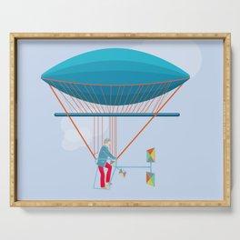 Skycycle Flying Machine Air Balloon Victorian Aircraft Serving Tray