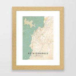 Kota Kinabalu, Malaysia - Vintage Map Framed Art Print