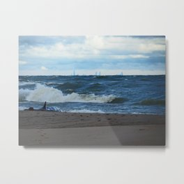 Big Waves on Lake Michigan Metal Print