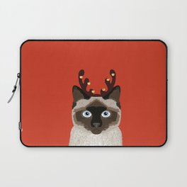 Siamese Cat Reindeer Costume funny cat art for cat lady gift for the holidays cats christmas outfit Laptop Sleeve