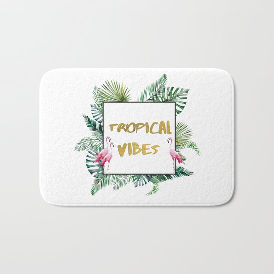 Aloha - Tropical Vibes Typography with Palm Leaves and Flamingo Bath Mat