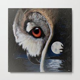 Eagle Owl - The Watcher - by LiliFlore Metal Print