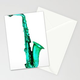 Green Saxophone Stationery Cards