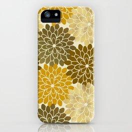 Golden Petals Pattern iPhone Case