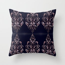 Classic Rose Blush Swirls on Navy Distressed Background Throw Pillow