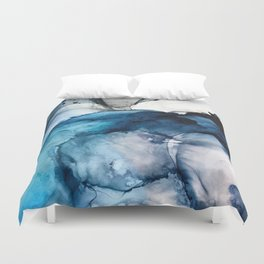 White Sand Blue Sea - Alcohol Ink Painting Duvet Cover