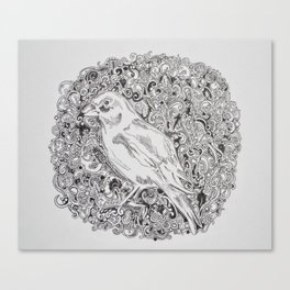 Rococo GreenFinch Sphere Canvas Print