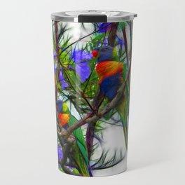 Abstract Beautiful Rainbow Lorikeets in a tree Travel Mug
