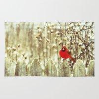 cardinal Area & Throw Rugs featuring cardinal by Bonnie Jakobsen-Martin