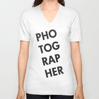 photographer V-neck T-shirts featuring Photographer by Rothko