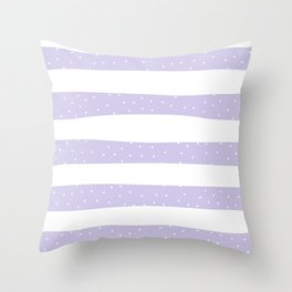 Christmas Simple seamless pattern Snow confetti on White and Pastel Purple Stripes Background Throw Pillow